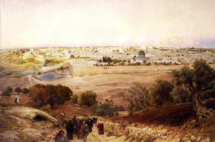 G. Bauerneind Jerusalem from Mount Olives 1902 - Original Paint
